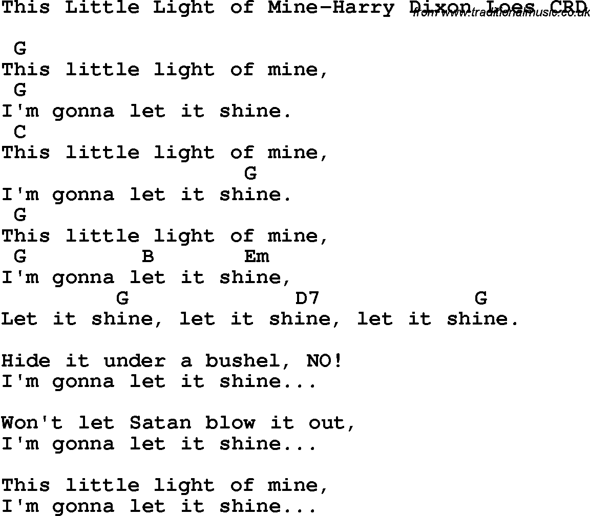 Christian Chlidrens Song This Little Light Of Mine Harry Dixon Loes