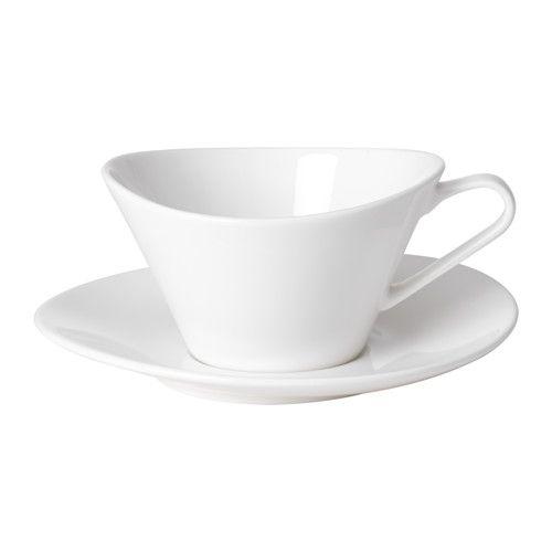 IKEA - SKYN, Tasse mit Untertasse, Feinporzellan, Material von besonders hoher Qualität - fast durchscheinend-zart und doch robust und haltbar.Mit cremigem Weiß und feinem Glanz eignet sich das zarte und doch robuste Feinporzellan zum Tischdecken für Alltag und Feste.