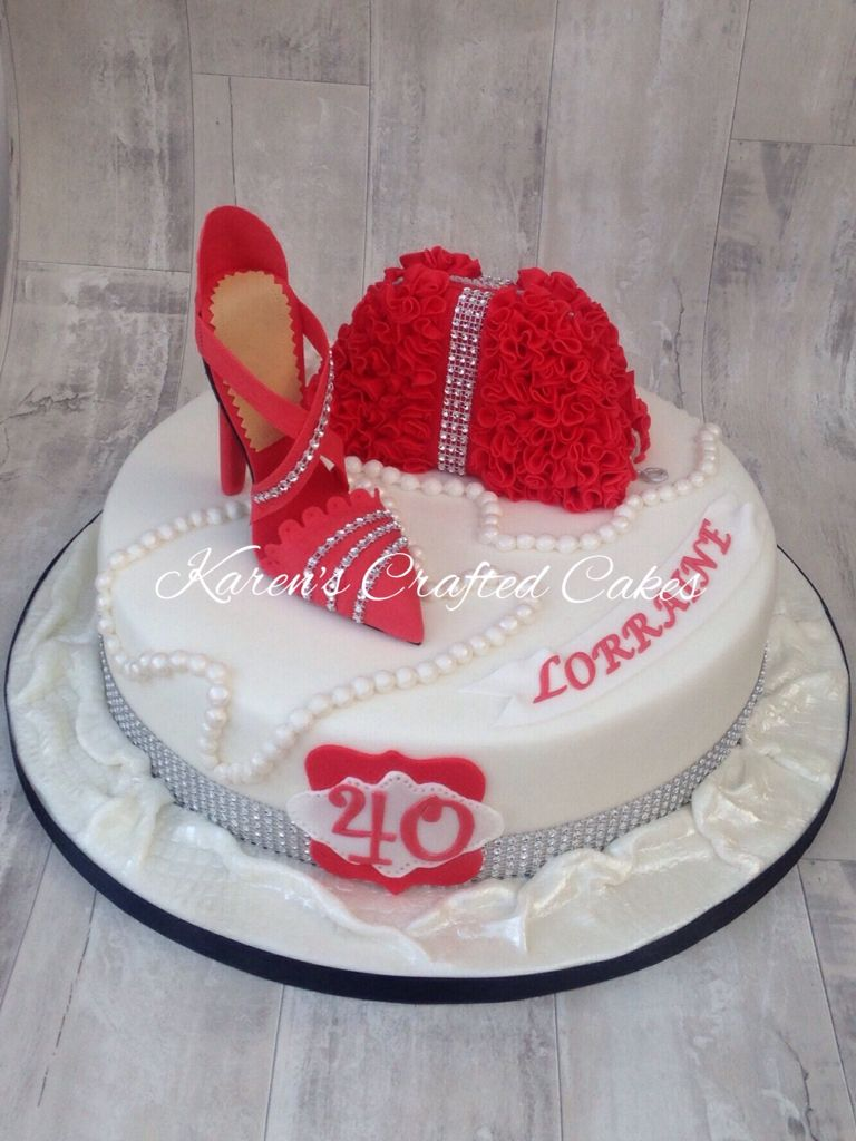 40th Birthday Red Shoe And Hand Bag Cake Karens Crafted Cakes