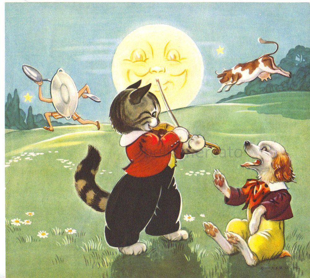 vintage nursery rhymes illustrations Hey Diddle Diddle