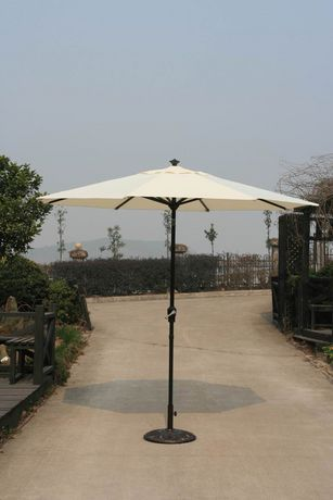 A 9 Diameter Self Tilting Patio Umbrella With Beige Or Red Sunbrella Fabric From Onsight White Universal With Images Patio Umbrella Patio Outdoor Decor
