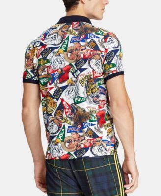 bec3cb1f Polo Ralph Lauren Men's Custom Slim Fit Mesh Polo Shirt - Multi S ...