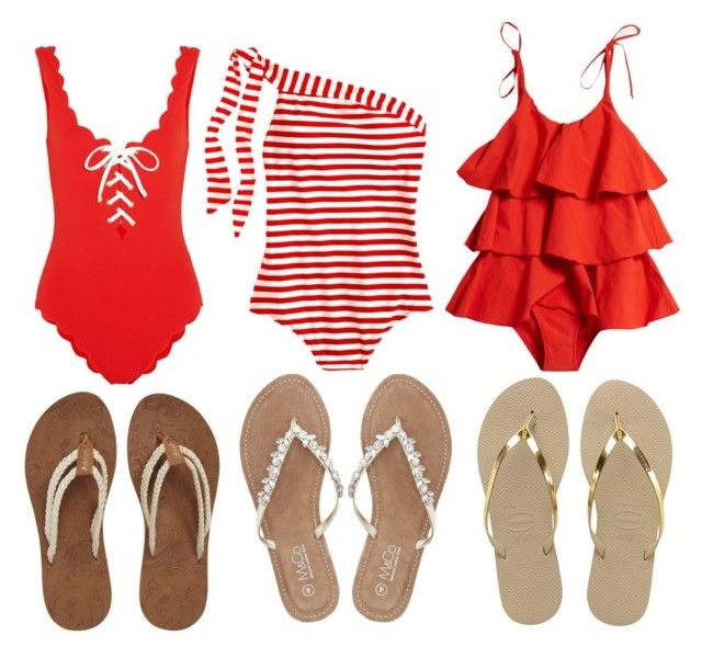"""RED"" by anitamg on Polyvore featuring mode, J.Crew, Lisa Marie Fernandez, Marysia Swim, Havaianas, Sakroots et M&Co"