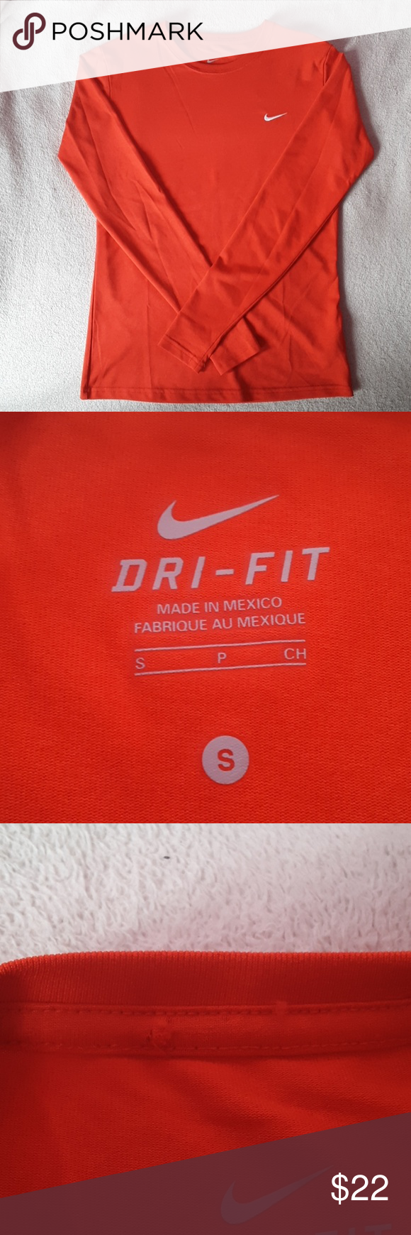Nike Dri Fit Red Long Sleeve *Nike Dri Fit *Long sleeve *Shirt is red, some of the pictures make it look more orange! *Size Small  *About 25 inches long  *About 16.5 inches across *One tiny hole in the inside of the collar (can only been seen from the inside) *Excellent condition, no rips, stains, or signs of wear  Please let me know if you have any questions! And feel free to make an offer! Nike Tops Tees - Long Sleeve #niketops