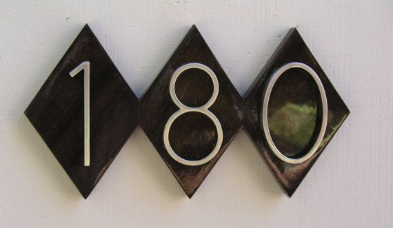 Modern Diamond House Numbers Plaque Mid Century Address Sign Free Shipping Quality Solid Mahogany With Yach House Numbers House Number Plaque Custom Plaques