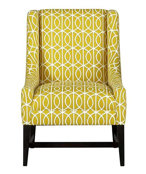 Excellent Yellow Patterned Accent Chair Living Room Patterned Machost Co Dining Chair Design Ideas Machostcouk