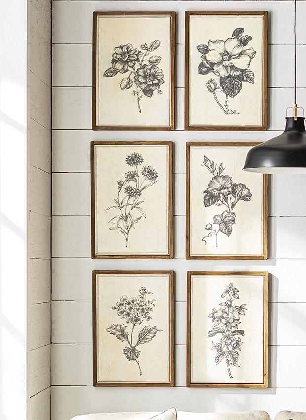 Framed Floral Print Collection, Set of 6