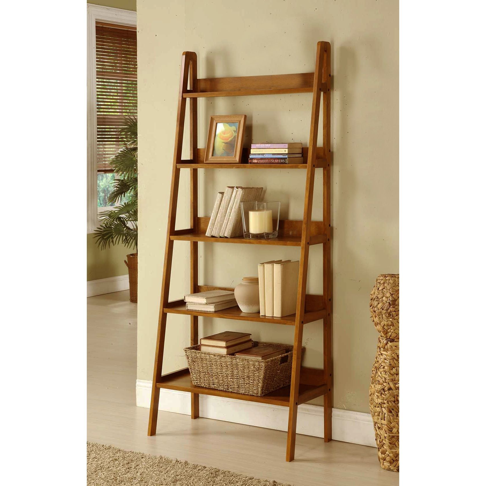Contemporary mahogany leaning ladder shelf bookcase mahogany