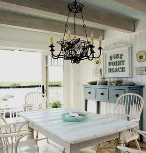 beach Style Lanterns | The beachy cottage style of this dining room ...