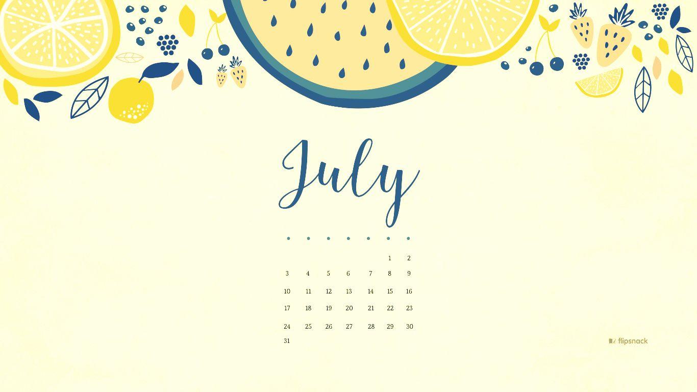 July 2018 Calendar Desktop Wallpaper  2018 Calendars in 2018  Pinterest  Wallpaper, Laptop