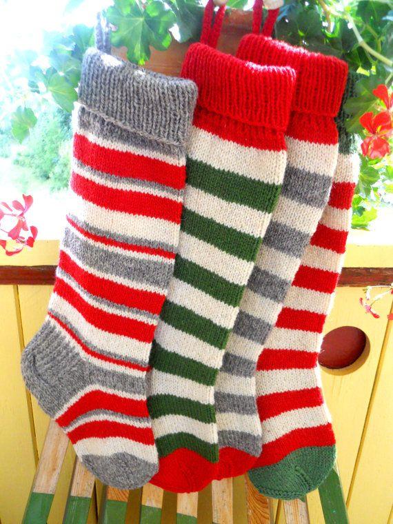 Hand knit Christmas Stocking  Striped stockings Christmas decoration Christmas gift on Etsy, $45.00