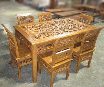 Set Table Jepara Carving Teak Dining Chairs Teak Wood Carving