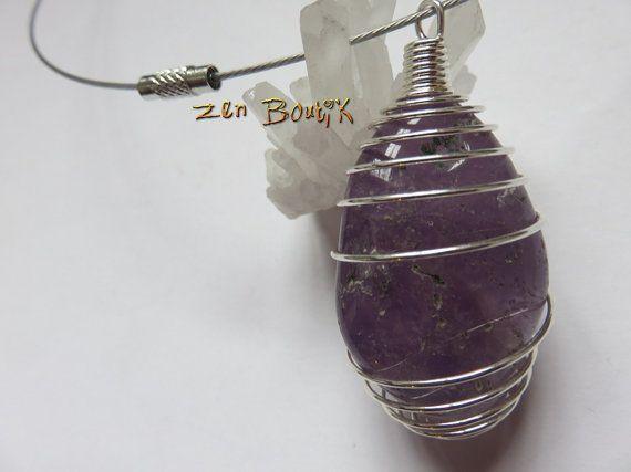 Améthyste grand pendentif Cadeau femme Améthyste cage par ZenBoutik