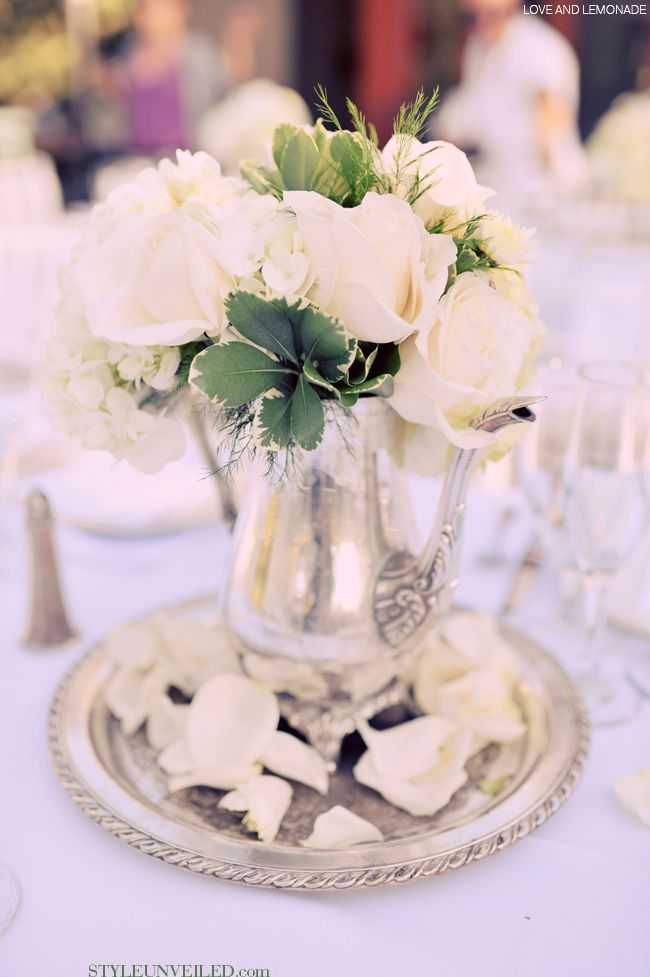 Roses in Silver Tea Pot Flowers  bouquets Pinterest Weddings