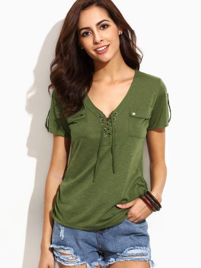 d6d99332f487 SHEIN offers fashionable Tops & more to meet your needs. Army Green V Neck  Eyelet Lace Up Pockets T-shirt