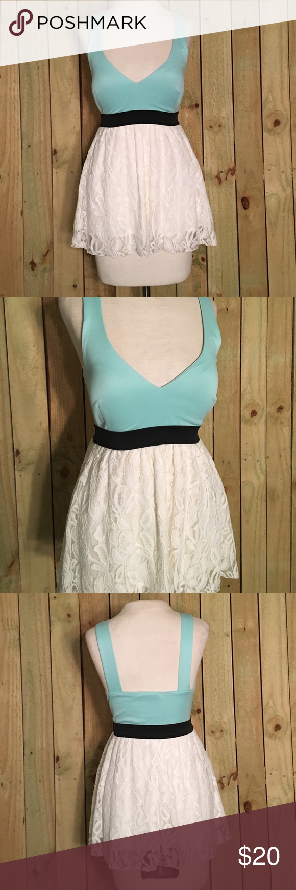 *50% OFF BUNDLES* NWOT blue tank with lace accent NWOT blue v neck tank with white lace accent and black stretch band Tops Tank Tops