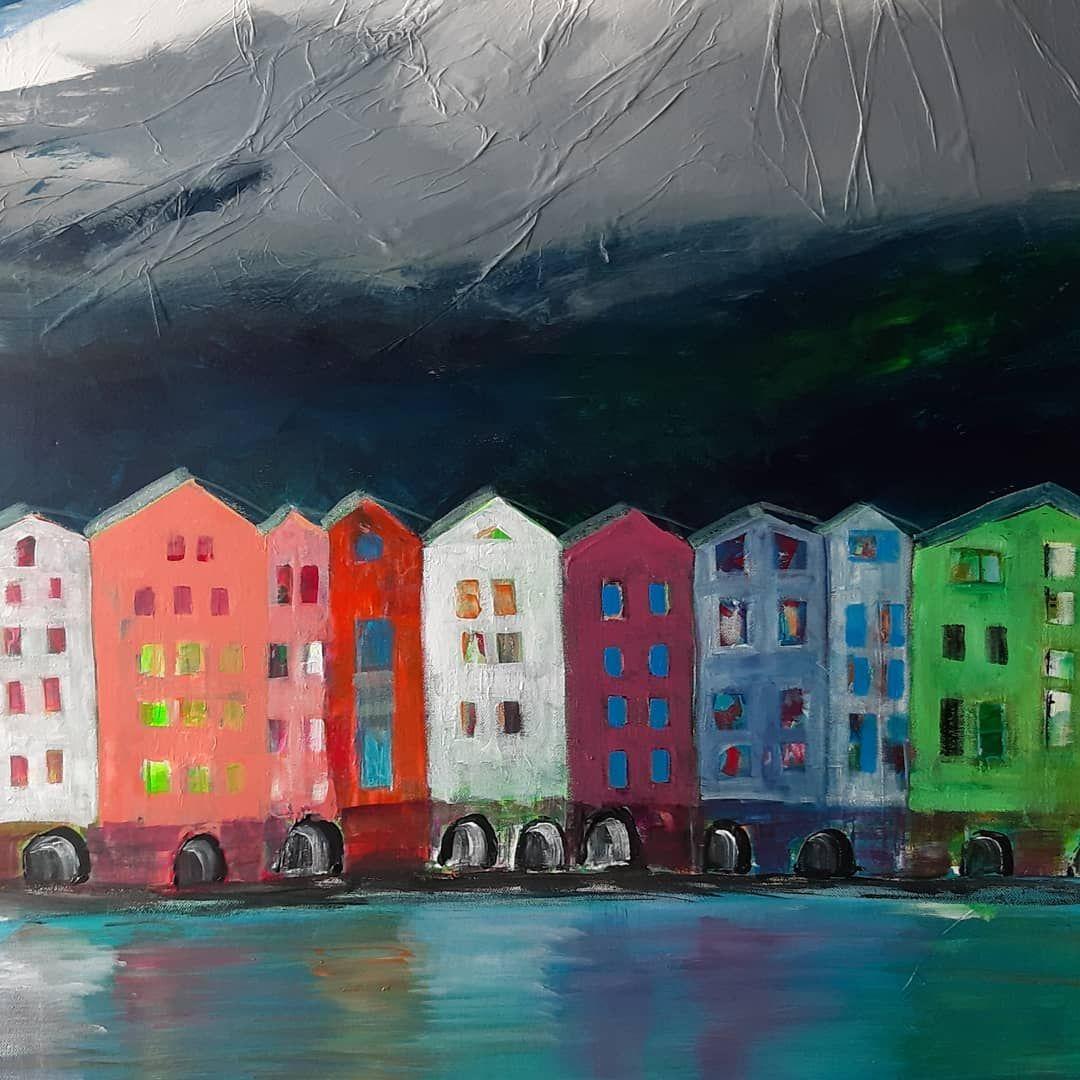 Leinwand70x90cm Innpromenade Nordkette Stadtaminn Innsbruck Gebirge Acryl Malerei Original City Modernart Design Kunst Canvasbord Art Painting