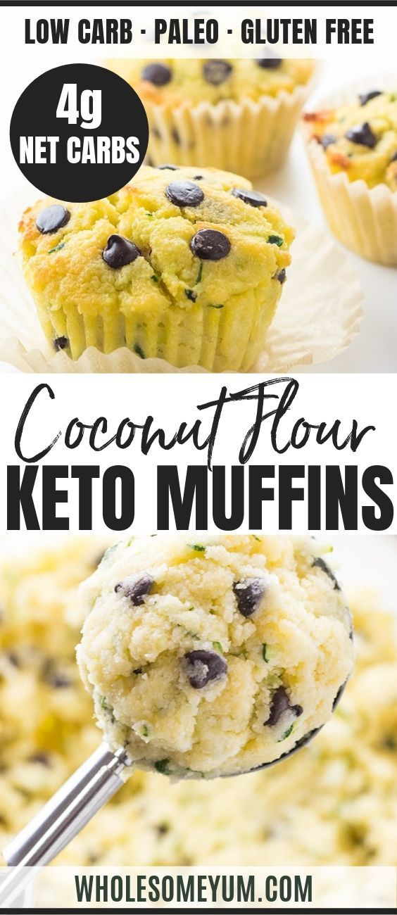 Chocolate Chip Low Carb Paleo Zucchini Muffins Recipe With Coconut Flour For The Mos Coconut Recipes Low Carb Recipes Dessert Zucchini Chocolate Chip Muffins