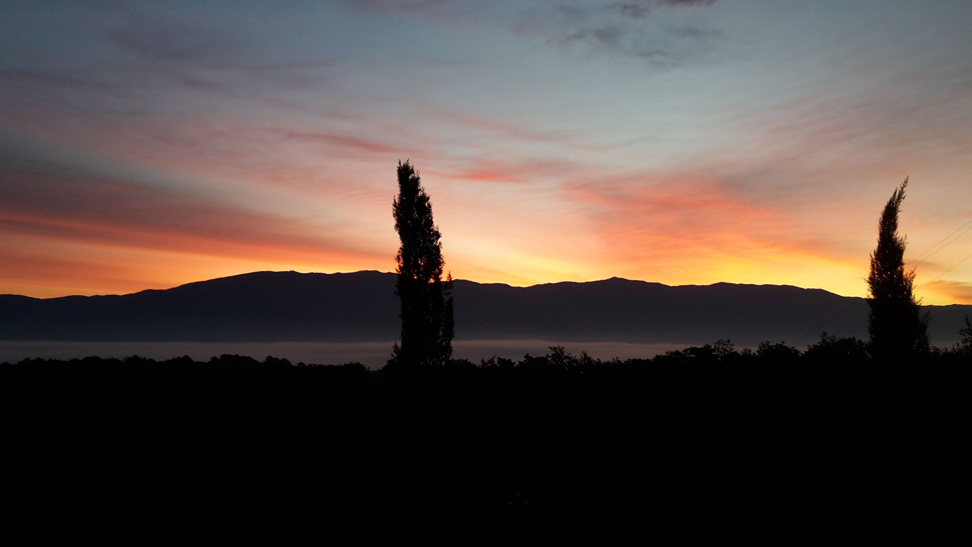 Sunset in Tuscany with cypress trees for a detox and relaxing holiday.