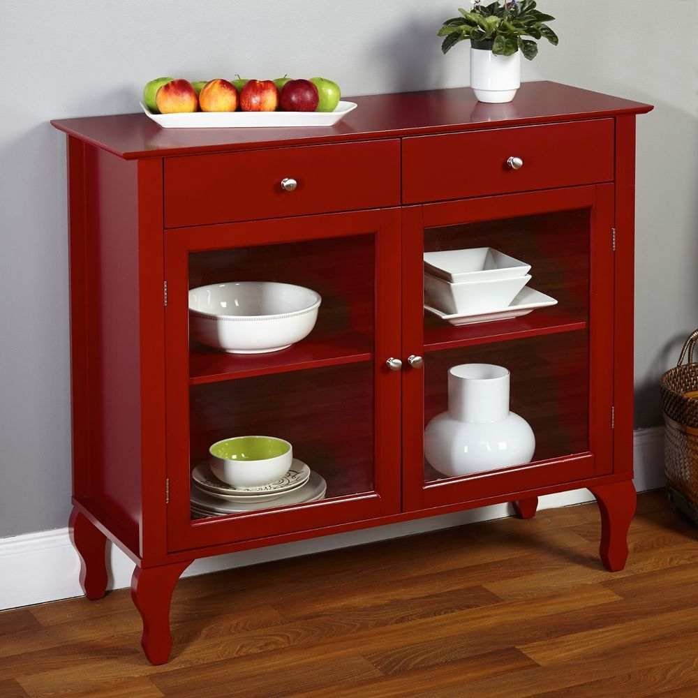 Kitchen Server Furniture Buffet Sideboard China Cabinet Red Server Hutch Table Country
