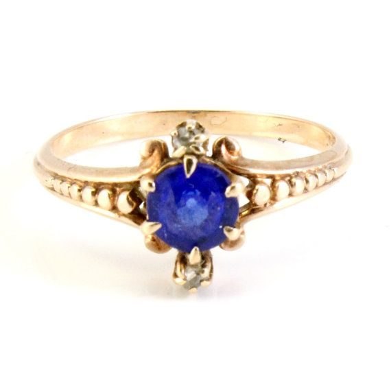 Antique Rose Gold Victorian CT Blue Sapphire by laurenrosedesign, $278.00