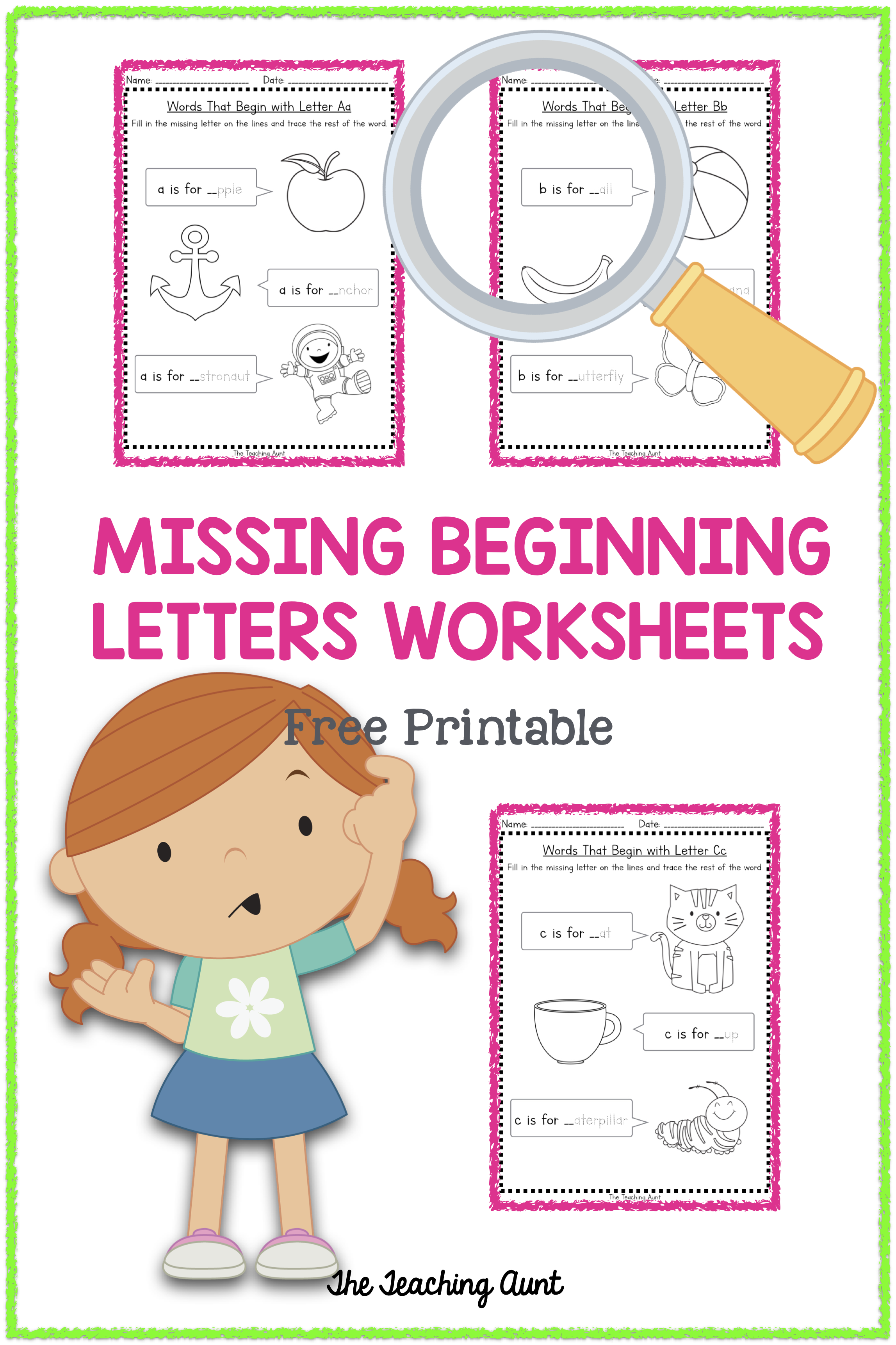 Missing Beginning Letter Worksheets