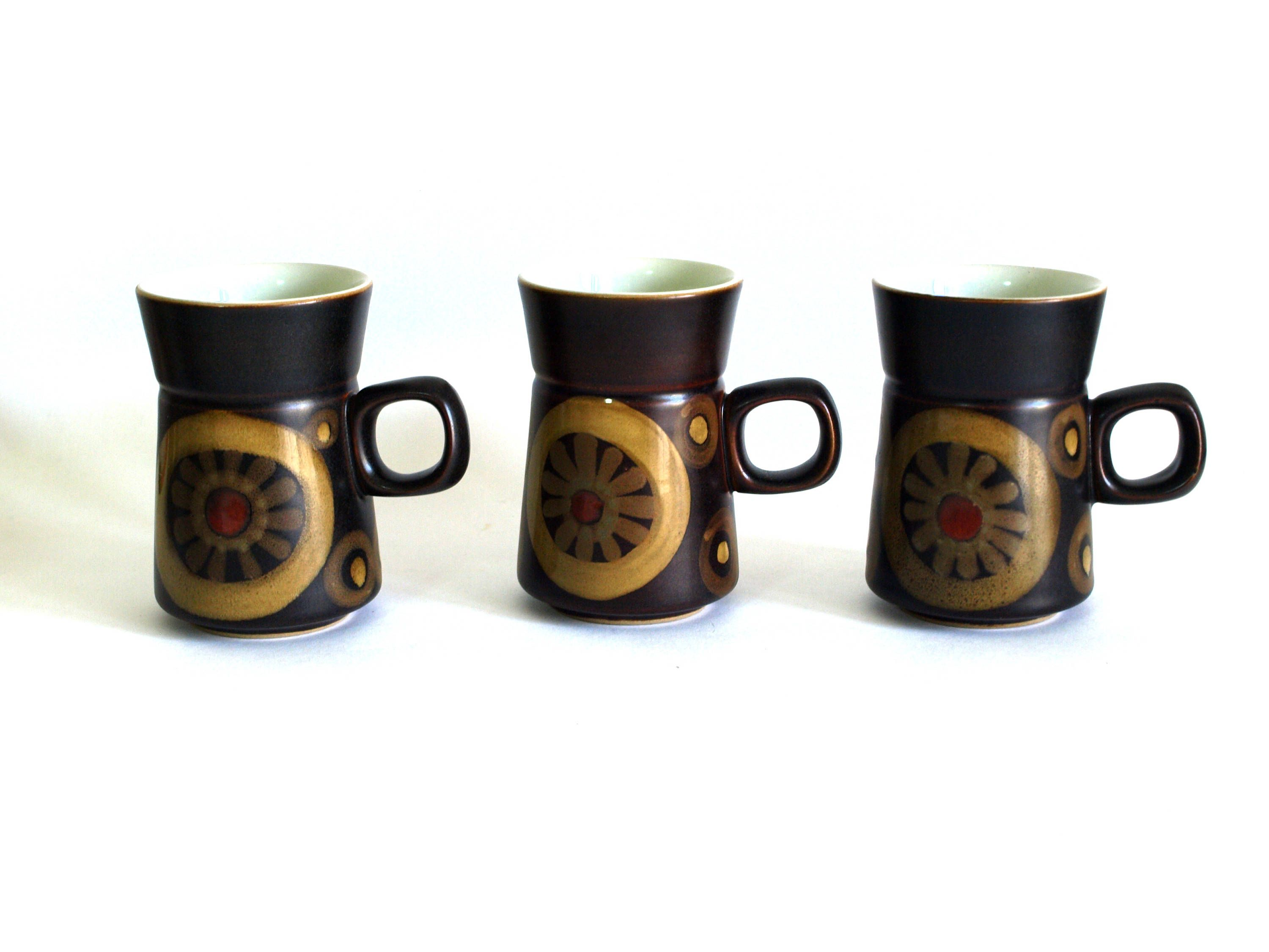 Denby Arabesque Coffee Mugs Vintage Retro Mod Design Set Of