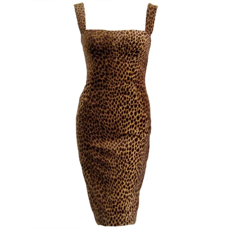 c2c4a62cf98e 1990s dolce and gabbana cotton velvet leopard print cocktail dress   From a  collection of rare