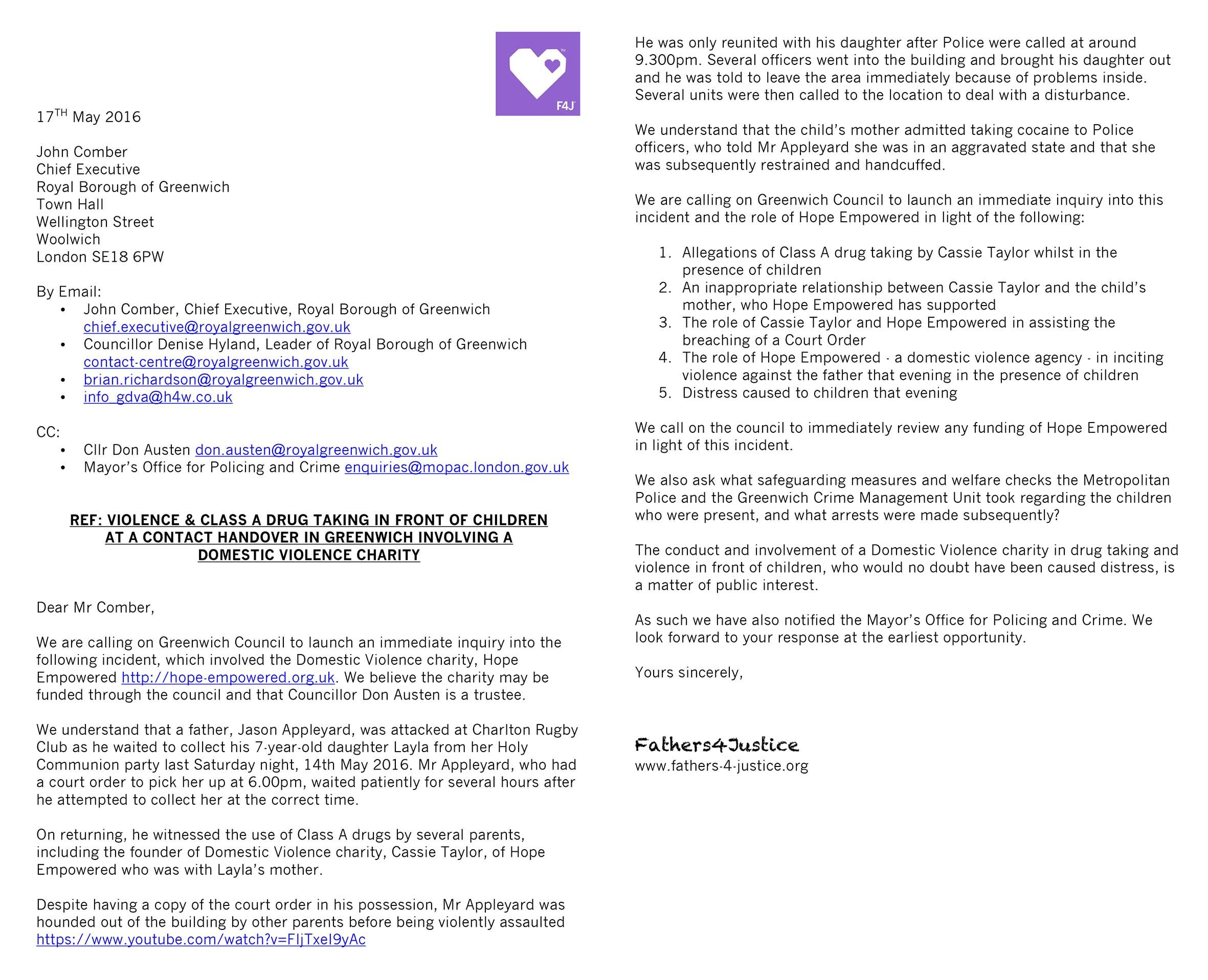 Letter For Site  FathersJustice    Domestic Violence