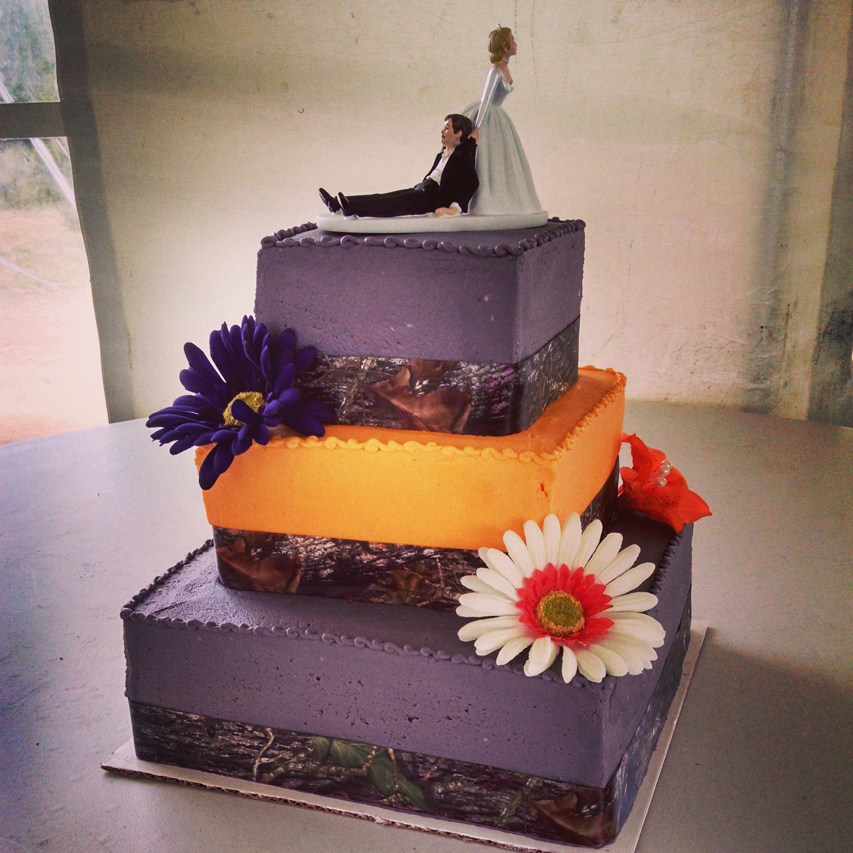 Purple And Orange Camo Wedding Cake Wedding Cakes In 2018