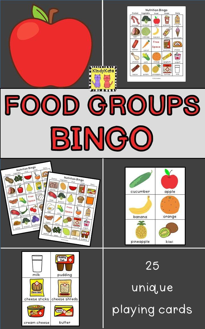 Food groups bingo group meals basic food groups nutrition