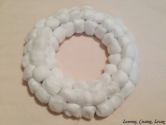 Learning, Creating, Living.: Cotton Ball Wreath