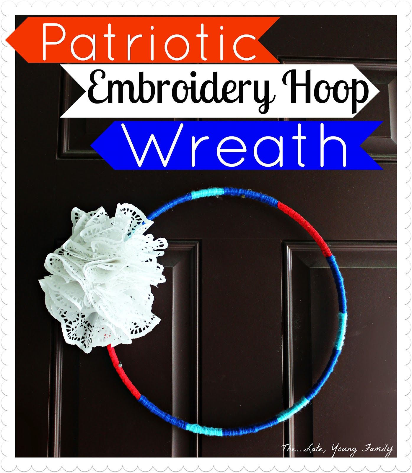 Quick and easy patriotic embroidery hoop wreath for 4th of July
