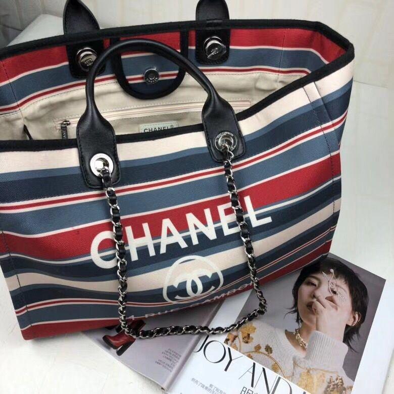 Chanel new stripes canvas beach cabas tote bag original leather version 416e5ac808