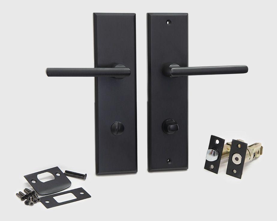 Halifax Modern Long Backplate Door Handle Lever Lock Set Satin