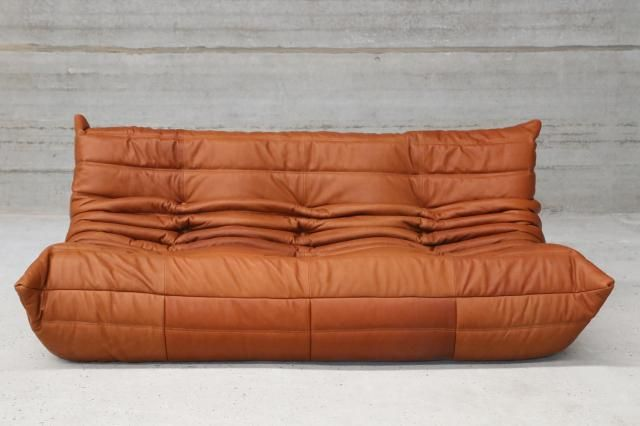 Vintage Togo Cognac Leather Three Seater Sofa By Michel Ducaroy For Ligne Roset For Sale At Pamono Ligne Roset Three Seater Sofa Sofa
