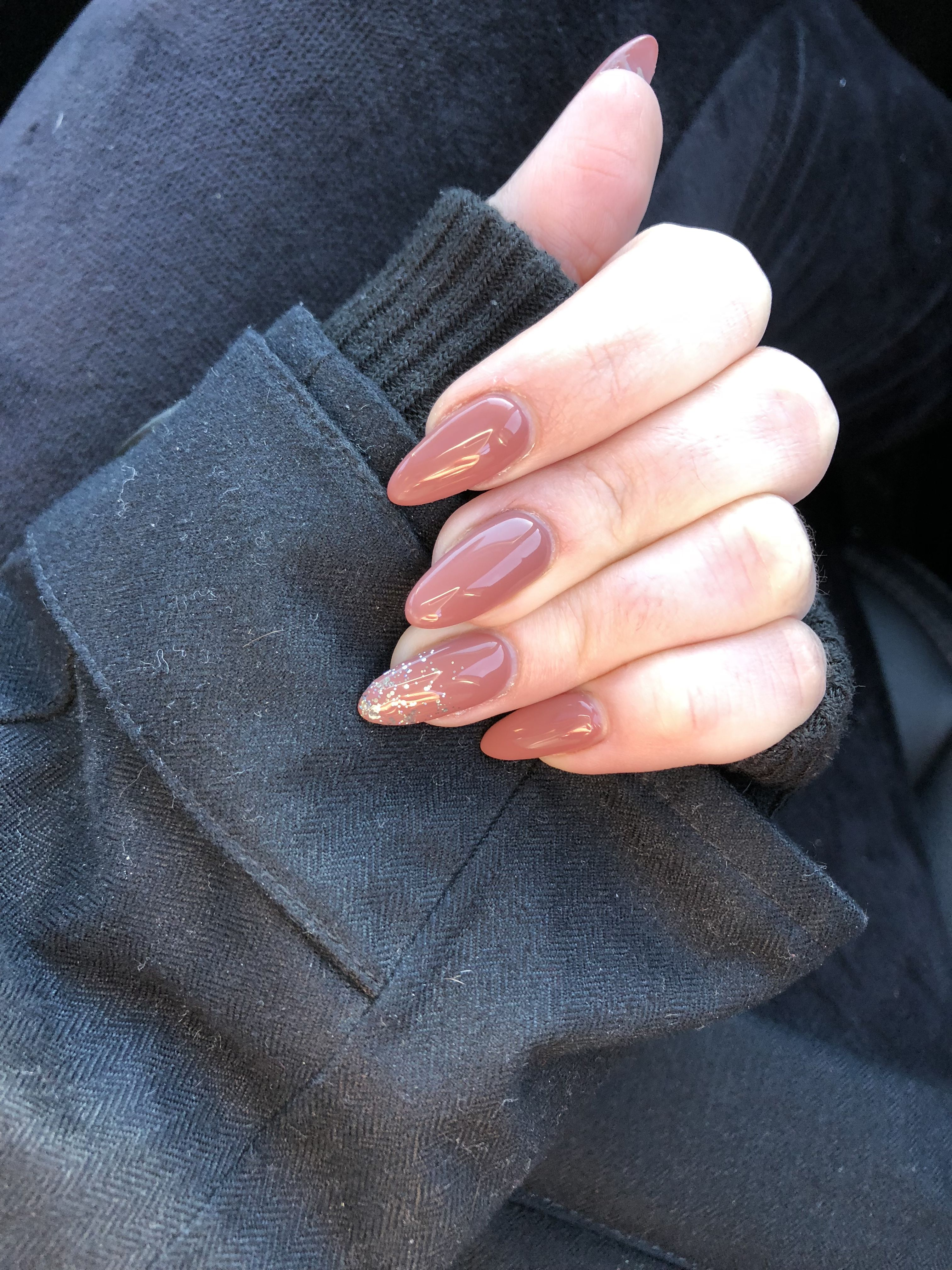 mauve pink acrylic almond shape nails january 2018 sparkle accent ...