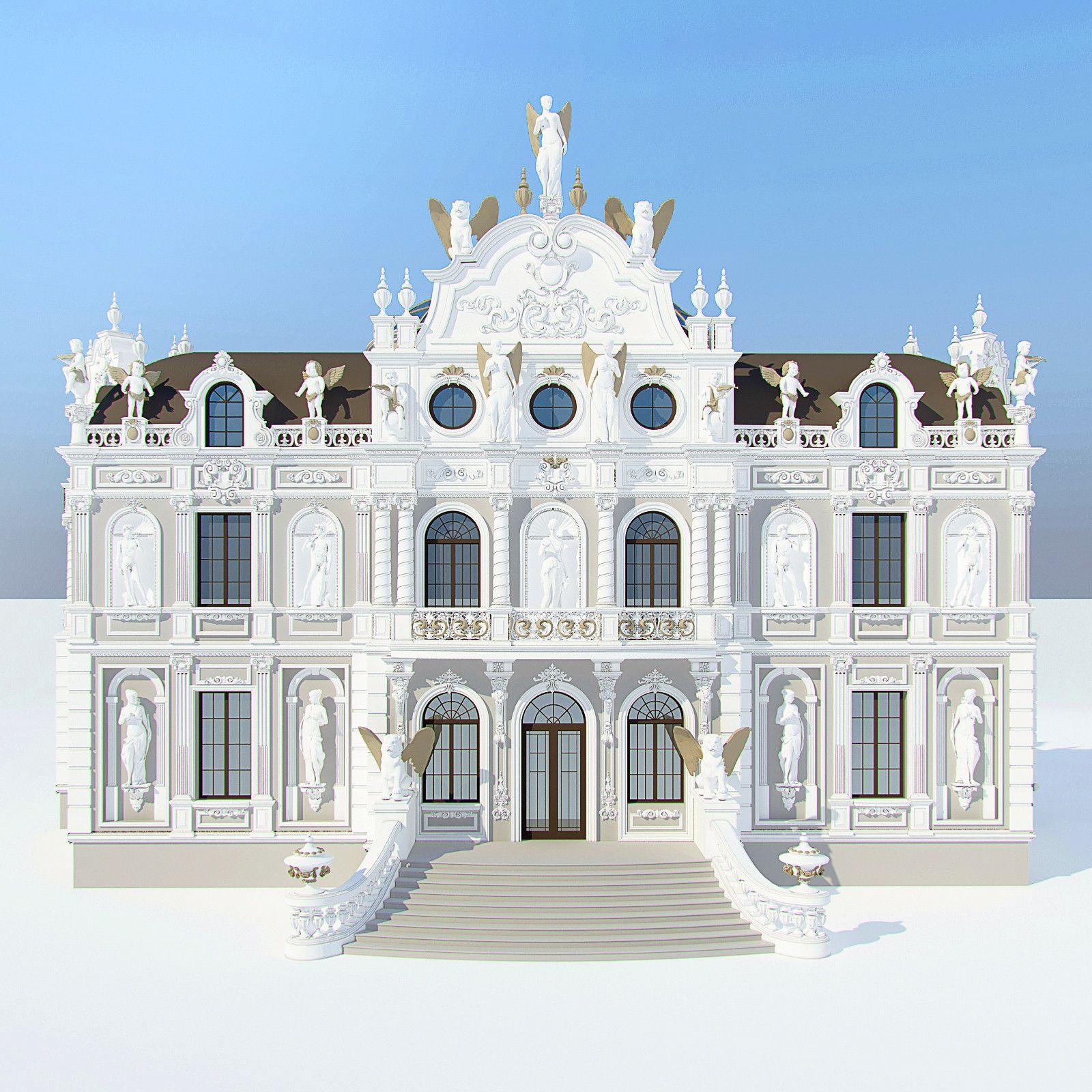 3d model baroque villa | фасад in 2019 | Особняк, Фасады ... Роскошные Дома в Стиле Барокко