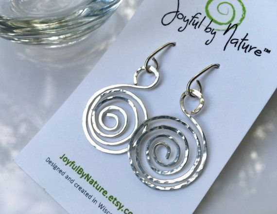 SALE- Holiday sparkle. Handmade sterling spiral earrings. Optional copper. https://www.etsy.com/listing/269063022/boho-hammered-spiral-earrings #etsymntt #gift #jewelry #sale