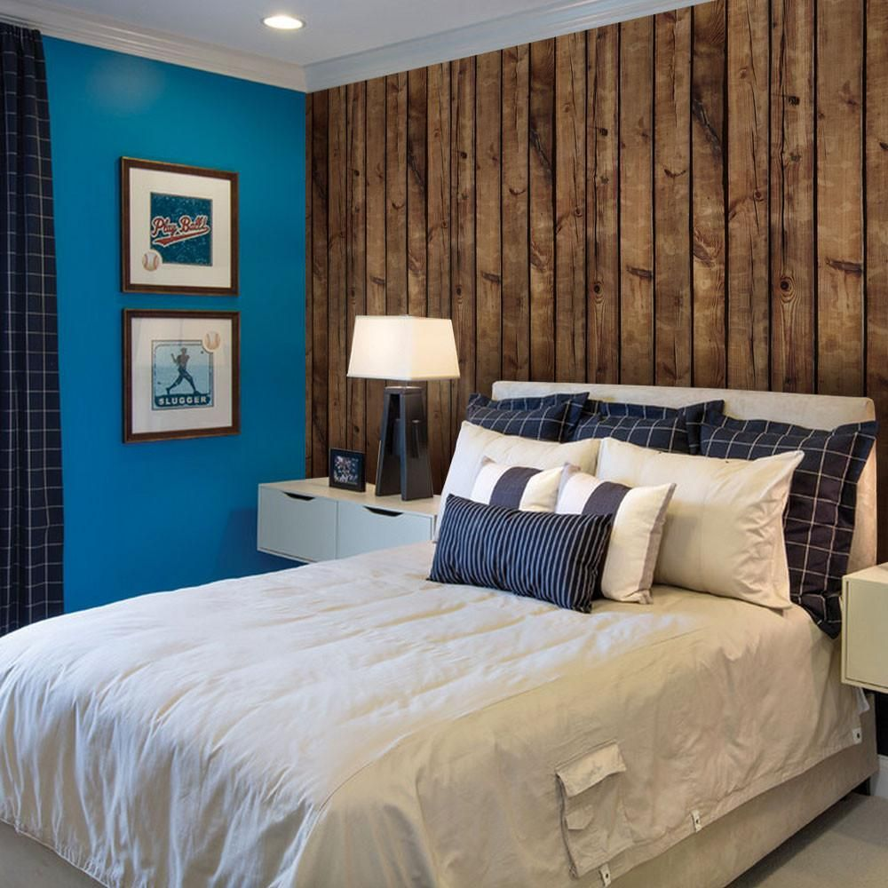Brown Wood Wallpaper Peel And Stick Simple Shapes Wood Wall Design Wood Wallpaper Best Bedroom Paint Colors