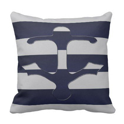 Space Cadet Grey Anchor Throw Pillow   Outdoor Gifts Unique Cyo Personalize