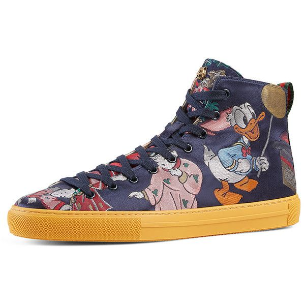 4818cf6e18df Gucci Donald Duck Men's Jacquard High-Top Sneaker ($695) ❤ liked on  Polyvore featuring men's fashion, men's shoes, men's sneakers, multi, mens  sneakers, ...