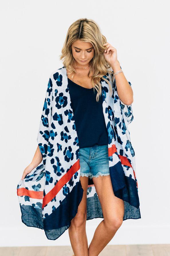9b4797f1d85f9 Americana Leopard Kimono Lightweight, and semi-sheer leopard print kimono.  Perfect for the