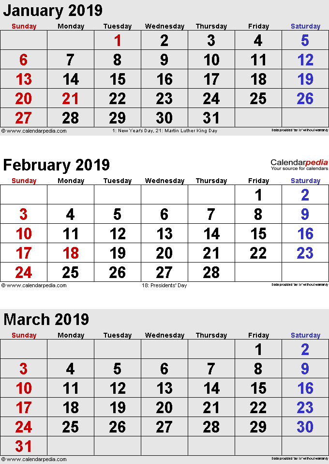 Calendar For February 2019 And March 2019 3 months calendar January February March 2019 in portrait format