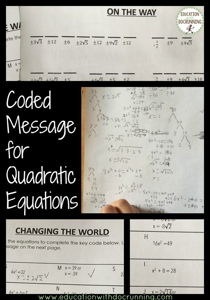 Solve Quadratic Equations By Square Root Method Coded Message