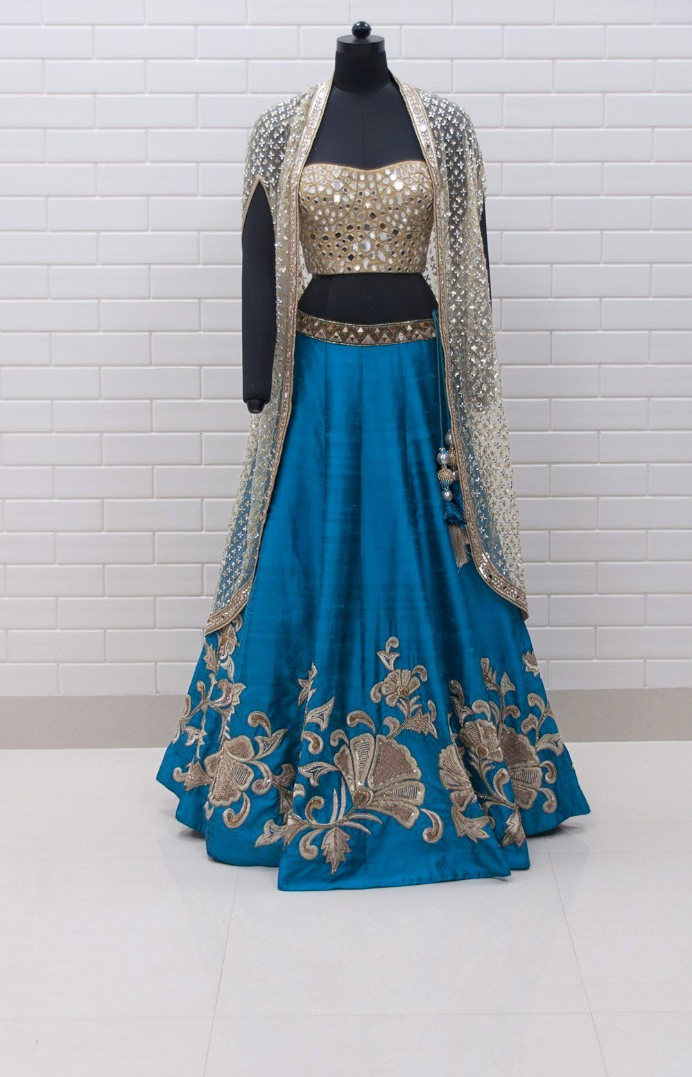 5b49469484 Cerulean Blue Lehenga with Cape and Corset in 2019 | Creative Style ...