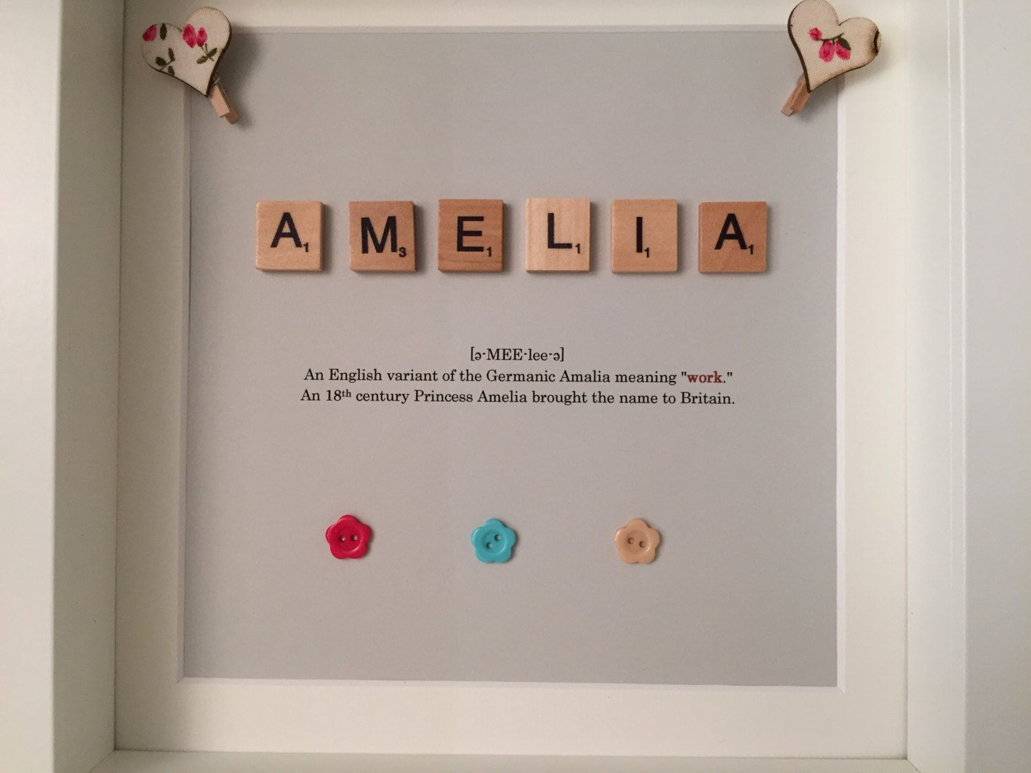 Personalised Name & Meaning Frame / Scrabble / Girl / Boy / Children ...