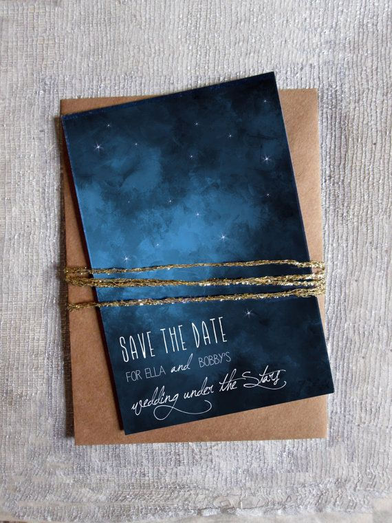 save the date under the stars outdoor wedding navy white 4 x 6