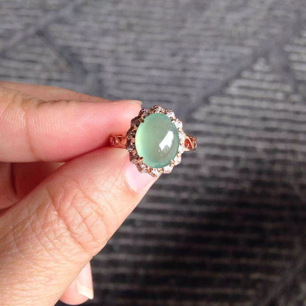 b9571bde54656 Perfect 18K rose gold icy light green jade filigree band engagement ...