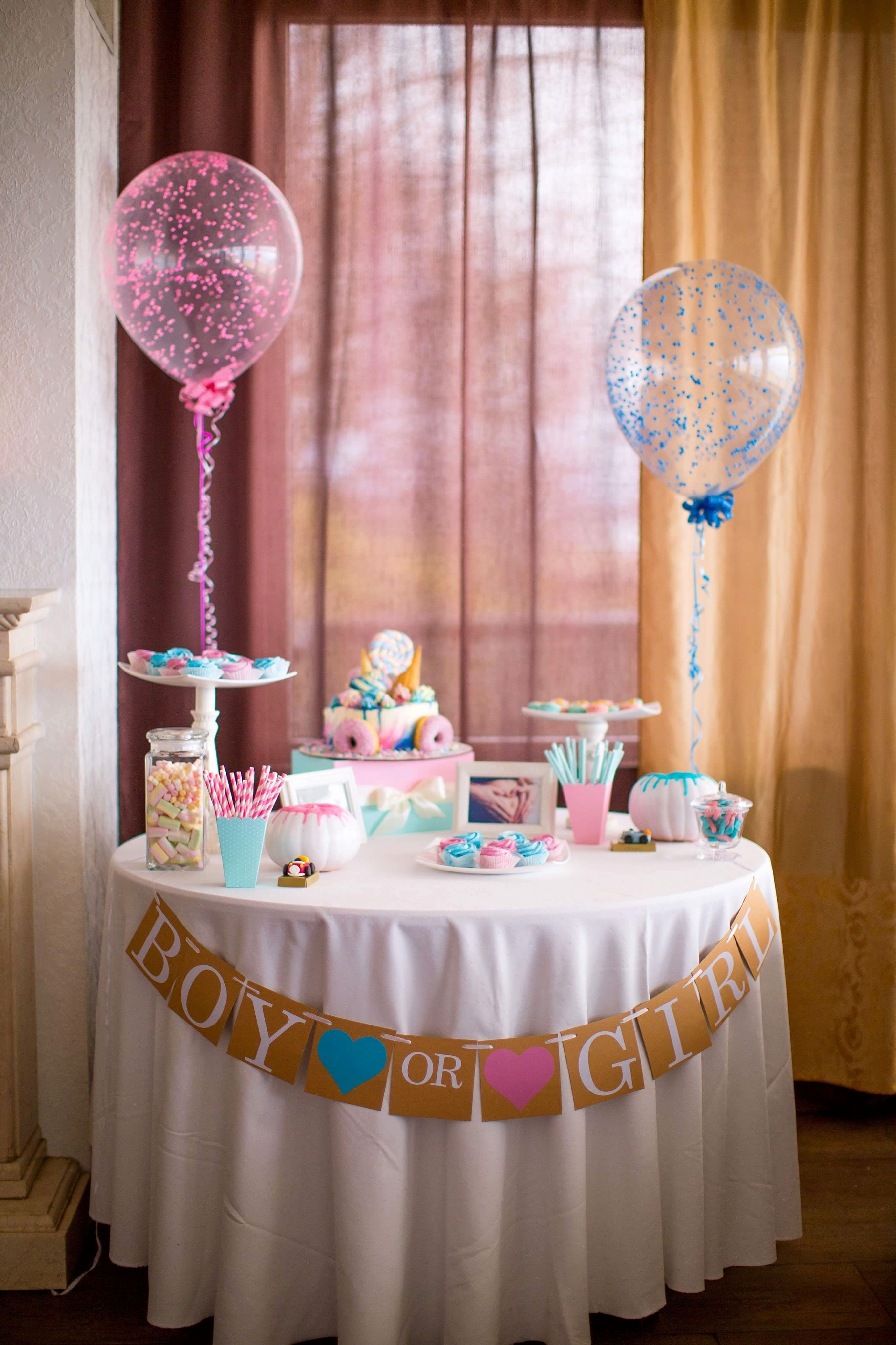 Girl Or Boy Sweet Treats To Share The Secret Gender Reveal Decorations Gender Reveal Decorations Diy Simple Gender Reveal